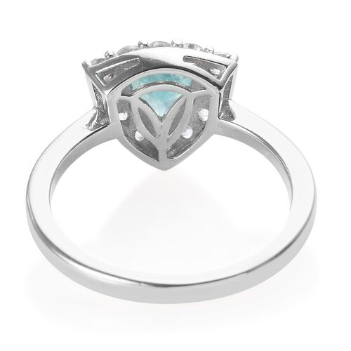 AA Grandidierite (Trl), Natural Cambodian Zircon Ring in Platinum Overlay Sterling Silver 1.50 Ct.