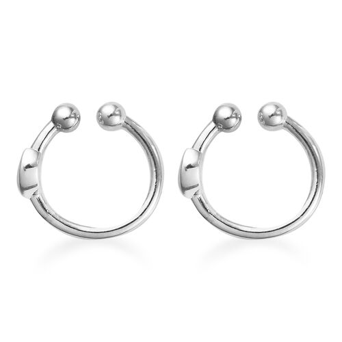 Sundays Child - Platinum Overlay Sterling Silver Crescent Moon Clip Earrings