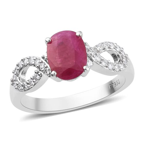RACHEL GALLEY - 950 Platinum AAAA Burmese Ruby and Diamond (VS/E-F) Ring 1.75 Ct, Platinum wt. 5.30