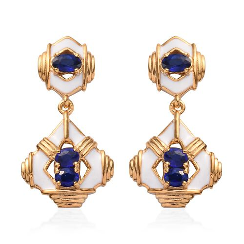 Tanzanian Blue Spinel Enamelled Earrings (with Push Back) in 14K Gold Overlay Sterling Silver 1.25 C