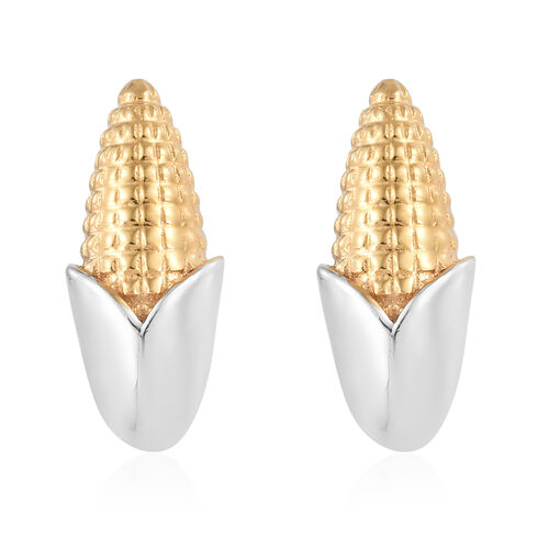Platinum Overlay and Yellow Gold Sterling Silver Corn Stud Earrings