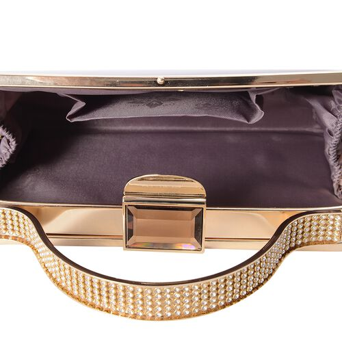 Boutique Collection Vintage Style High Glossed Purple Bag with Chain Strap (Size 20x11x4 Cm)
