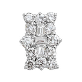 ILIANA 18K White Gold IGI Certified Diamond (Rnd and Bgt) (SI/G-H) Boat Cluster Pendant 1.000 Ct.