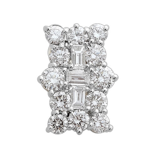 ILIANA 18K White Gold IGI Certified Diamond (Rnd and Bgt) (SI/G-H) Boat Cluster Pendant 1.000 Ct.