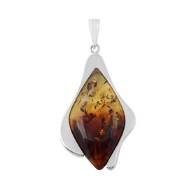 Bi-Colour Baltic Amber Marquoise Cut Half Bezel Pendant in Sterling Silver