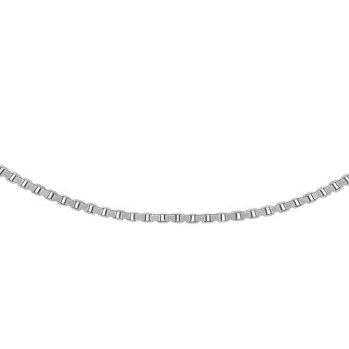 9K White Gold Box Chain (Size 20) ,  Gold Wt. 1.00 Gms