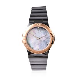 Doorbuster Deal - EON 1962 Swiss Movement Water Resistance Diamond Studded Watch with Grey Mother of
