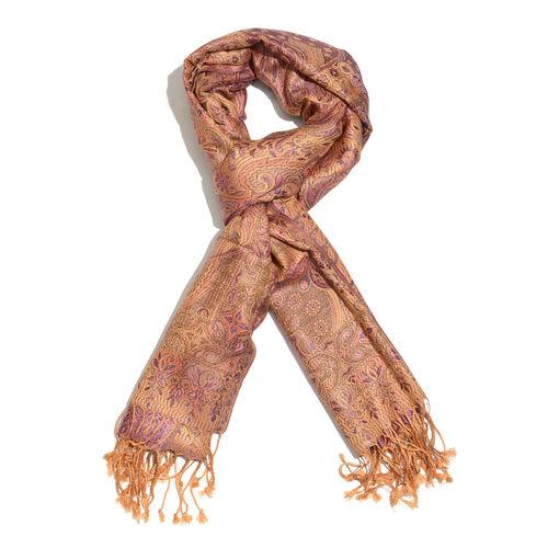 SILK MARK- 100% Superfine Silk Golden, Pink and Multi Colour Jacquard Jamawar Scarf with Tassels (Si