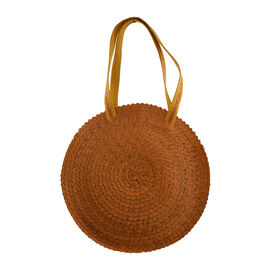 Bali Collection Palm Leaf Sisik Pattern Woven Round Bag with Leather Strap - Yellow