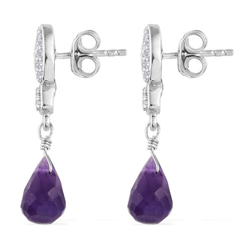 GP Amethyst Drop, Natural White Cambodian Zircon and Kanchanaburi Blue Sapphire Earrings (with Push Back) in Platinum Overlay Sterling Silver 5.500 Ct