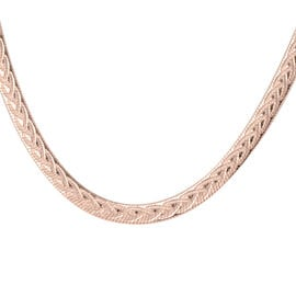Rose Gold Overlay Sterling Silver Herringbone Necklace (Size 18 with 2 inch Extender), Silver wt 12.