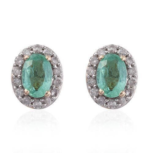 9K Yellow Gold 1.00 Carat AA Colombian Emerald Stud Earrings with Diamond with Push Back