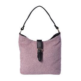 Faux Fur Shoulder Bag (26x24x5cm) with Clasp Closure - Light Purple