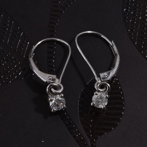 9K White Gold SGL Certified Diamond (Rnd) (G-H/I3) Lever Back Earrings 0.33 Ct.