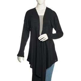 Black Colour Long Neck Pattern Cardigan (Size Medium / Large)
