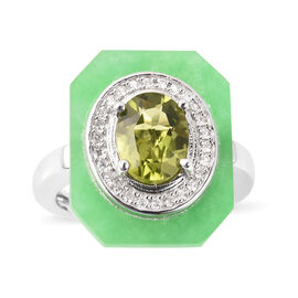 6.33 Ct Hebei Peridot Halo Design Ring in Rhodium Plated Sterling Silver