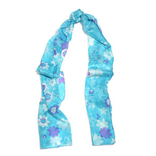100% Mulberry Silk Turquoise, Purple and Multi Colour Handscreen Printed Scarf (Size 180x50 Cm)