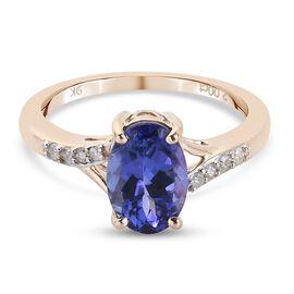 9K Yellow Gold Tanzanite and Diamond Ring 2.080 Ct.