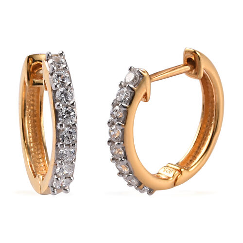 J Francis 14K Gold Overlay Sterling Silver Hoop Earrings (with Clasp)  Made with SWAROVSKI ZIRCONIA