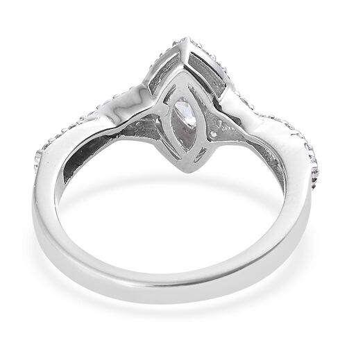 J Francis - Platinum Overlay Sterling Silver (Mrq and Rnd) Cluster Ring Made with SWAROVSKI ZIRCONIA