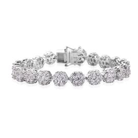 J Francis Platinum Overlay Sterling Silver Bracelet (Size 7) Made with SWAROVSKI ZIRCONIA 22.62 Ct,