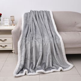 Foil Printed Flannel Sherpa Blanket (Size 150x200 Cm) - Grey