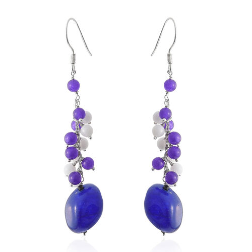 Blue, White and Purple Quartzite and Boi Ploi Black Spinel Hook Earrings in Platinum Overlay Sterlin