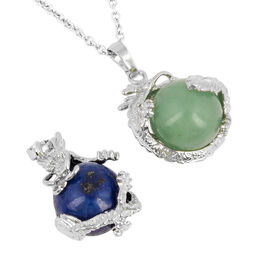 Set of 2 - Lapis Lazuli and Green Aventurine 2 Pendants with Chain in Stainless Steel 47.00 Ct.
