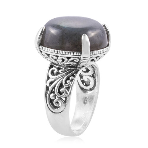 Royal Bali Collection Rare Size Labradorite (Rnd 20mm) Ring in Sterling Silver 26.060 Ct. Silver wt 7.00 Gms.