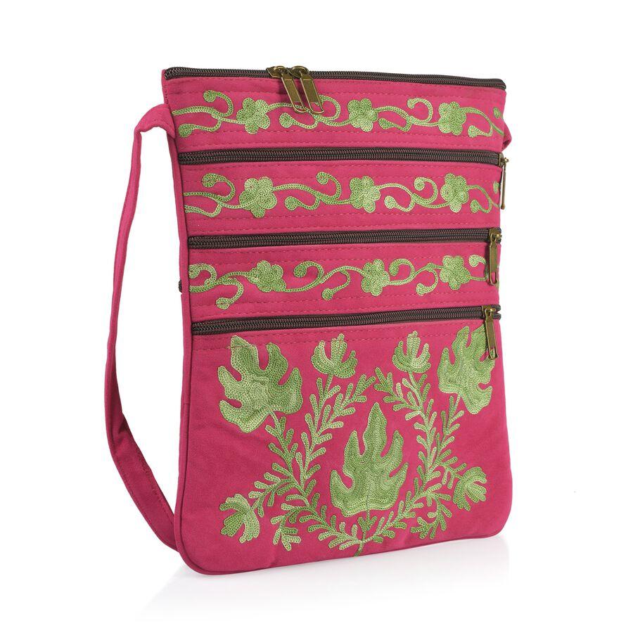 Hand-Embroide-Floral-Leaves-Pattern-Sling-Bag-with-External-Zipper-Pocket