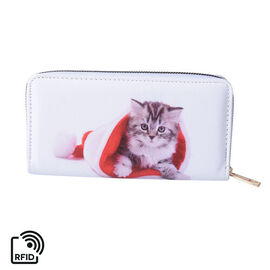 Kitten Print RFID Clutch Wallet (Size 18.5x2.5x9.5cm) with Zipper Closure in Gold Tone - White