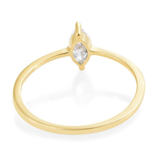 J Francis - 9K Yellow Gold (Mrq) Solitaire Ring Made with SWAROVSKI ZIRCONIA.