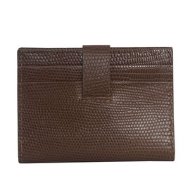 Assots London Grove Lizard Skin Texture 100% Genuine Leather RFID Cardholder (Size 8x10cm) - Tan