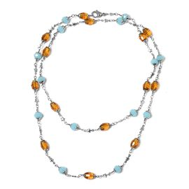 Simulated Santa Maria Aquamarine and Simulated Amber Beads Charm Necklace (Size 36) in Stainless Steel