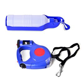 Pet Accessories- Red and Blue Colour Retractable LED Leash with Blue and White Colour Water Bottle a