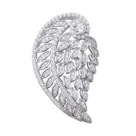 ELANZA Simulated Diamond (Rnd) Angel Wing Pendant in Rhodium Overlay Sterling Silver
