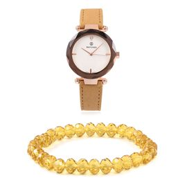 2 Piece Set - STRADA Japanese Movement Austrian Crystal Studded Water Resistant Watch with Stretchable Yellow Beads Bracelet (Size 6.75)