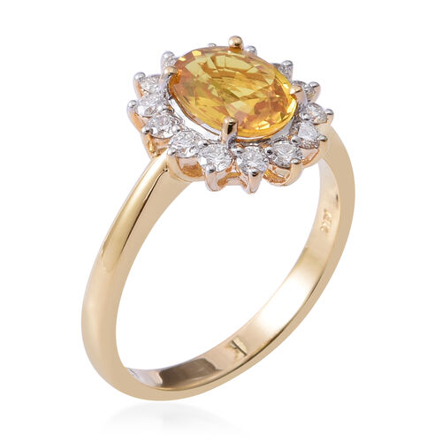 ILIANA 18K Yellow Gold AAA Yellow Sapphire (Ovl) Diamond (SI/G-H) Ring 2.660 Ct.