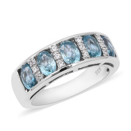 Ratnakiri Blue Zircon (Ovl), Natural White Cambodian Zircon Half Eternity Band Ring in Rhodium Overl