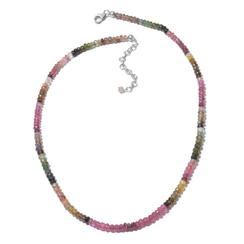 Multi-Tourmaline (Rnd) Featuring Paraiba & Rubellite Beads Necklace (Size 18 with 2 inch Extender) i