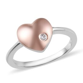 J Francis - Rose Gold and Platinum Overlay Sterling Silver (Rnd) Heart Ring Made with SWAROVSKI ZIRC