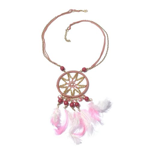 Pink Feather Dream Catcher Necklace (Size 22 with 2 inch Extender) with Red and Pink Colour Beads and Matching Key Chain in Rose and Yellow Gold Tone