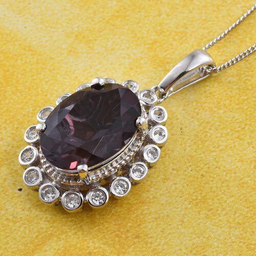Alexandria Quartz (Ovl 5.90 Ct), Natural Cambodian Zircon Pendant with Chain in Platinum Overlay Sterling Silver 6.250 Ct.