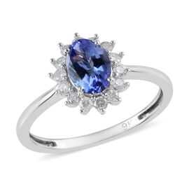 9K White Gold  AA Tanzanite (Ovl), Diamond Halo Ring 1.000 Ct.