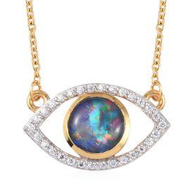 Sundays Child - Australian Boulder Opal, Natural Cambodian Zircon Eye Necklace (Size 18) in 14K Gold
