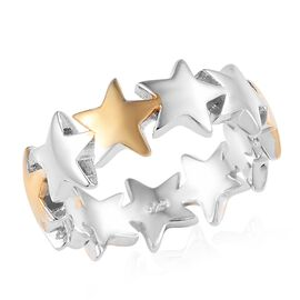 Platinum and Yellow Gold Overlay Sterling Silver Star Ring