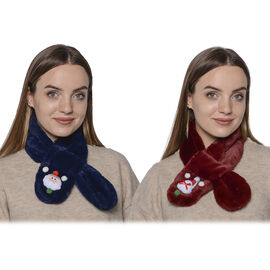 Set of 2 - 3D Snowman Pattern Kids Faux Fur Scarf (10x80cm) - Navy and Burgundy