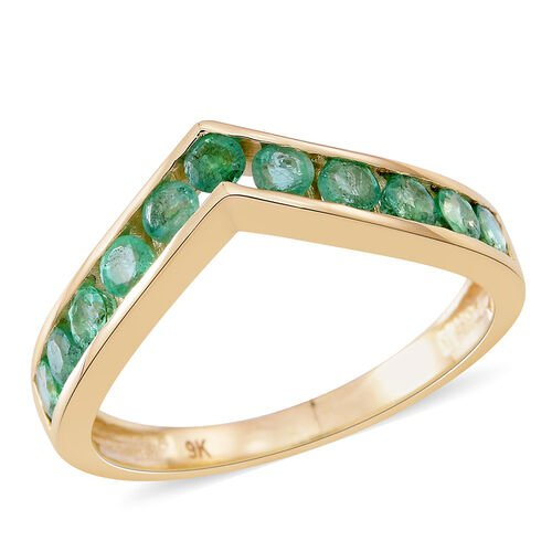 9K Yellow Gold AAA Kagem Zambian Emerald (Rnd) Wishbone Ring 1.500 Ct.