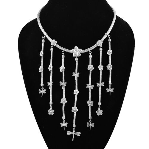 Royal Bali Collection - Dragonfly Waterfall Necklace (Size 18) in Sterling Silver, Silver wt. 81.20 Gms
