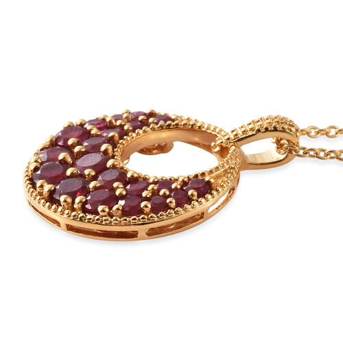 Designer Inspired-African Ruby (Rnd) Circle Pendant With Chain in 14K Gold Overlay Sterling Silver 3.500 Ct, Silver wt 6.40 Gms.